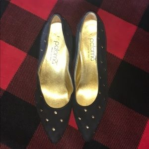 Suede studded heels